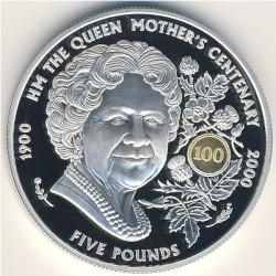 Moneta > 5funtów, 2000 - Guernsey  (100 rocznica urodzin - Królowa Matka) - reverse