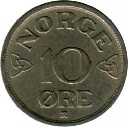 Moneda > 10ore, 1951-1957 - Noruega  - reverse