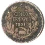 Coin > 5 centavos, 1899-1907 - Chile  - obverse