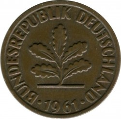 Coin > 2 pfennig, 1961 - Germany  - reverse
