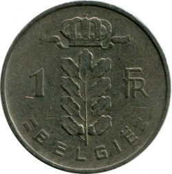 """Minca > 1frank, 1959 - Belgicko  (Nadpis v holandčine - """"BELGIE"""") - obverse"""