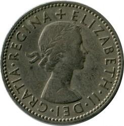 Moneda > 1chelín, 1954-1970 - Reino Unido  (Escudo de Escocia: León rampante mirando hacia la izquierda en un escudo coronado) - obverse