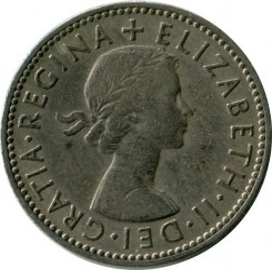 Moneda > 1chelín, 1954-1970 - Reino Unido  (Escudo de Escocia: León rampante mirando hacia la izquierda en un escudo coronado) - reverse