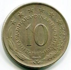 Moneda > 10dinares, 1980 - Yugoslavia  - reverse