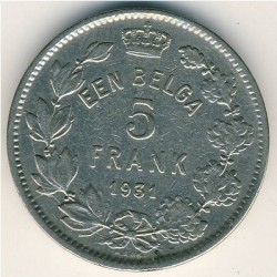 Münze > 5Franken, 1930-1933 - Belgien  (Legend in Dutch - 'ALBERT KONING DER BELGEN') - reverse