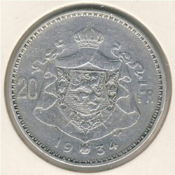 Minca > 20francs, 1933-1934 - Belgicko  (Legend in French - 'ALBERT ROI DES BELGES') - reverse