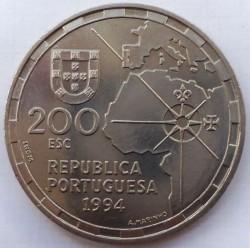 Moneda > 200escudos, 1994 - Portugal  (500 aniversario - El reparto del mundo) - obverse
