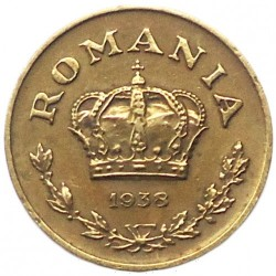Munt > 1leu, 1938-1941 - Roemenië  - obverse