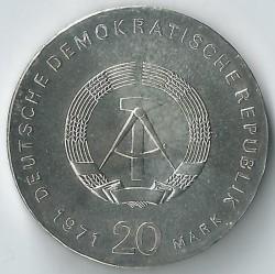 Moneda > 20marcos, 1971 - Alemania - RDA  (100º Aniversario - Nacimiento de Karl Liebknecht y Rosa Luxemburg) - obverse