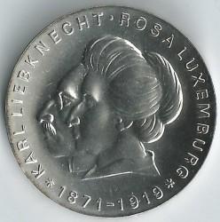 Moneda > 20marcos, 1971 - Alemania - RDA  (100º Aniversario - Nacimiento de Karl Liebknecht y Rosa Luxemburg) - reverse