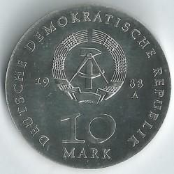 Moneda > 10marcos, 1988 - Alemania - RDA  (500º Aniversario - Nacimiento de Ulrich von Hutten) - obverse