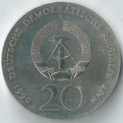 Moneda > 20marcos, 1990 - Alemania - RDA  (275º Aniversario - Muerte de Andreas Schlüter) - obverse
