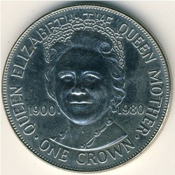 Moneta > 1corona, 1980 - Isola di Man  (80° Anniversario - Nascita della Regina madre) - obverse
