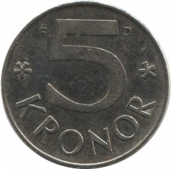 Coin > 5 kronor, 1990 - Sweden  - obverse