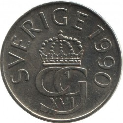 Coin > 5 kronor, 1990 - Sweden  - reverse