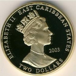 Moneta > 2dollari, 2003 - Caraibi Orientali  (Capi militari britannici - Enrico V d'Inghilterra) - obverse