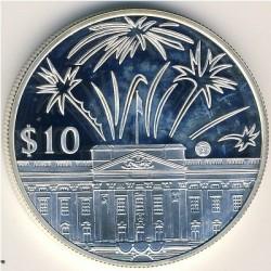 Moneta > 10dollari, 2002 - Caraibi Orientali  (50° anniversario - Incoronazione della regina Elisabetta II) - reverse
