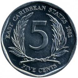 Moneda > 5centavos, 2002-2015 - Estados del Caribe Oriental  - reverse