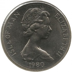 Moneda > 1corona, 1980 - Isla de Man  (XXII summer Olympic Games, Moscow 1980 /runner at the top of the coin/) - obverse