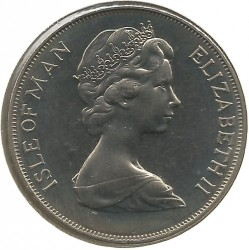 Moneta > 1 corona, 1977 - Isola di Man  (25th Anniversary - Accession of Queen Elizabeth II /coat of arms/) - obverse