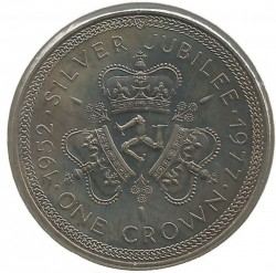 Moneta > 1 corona, 1977 - Isola di Man  (25th Anniversary - Accession of Queen Elizabeth II /coat of arms/) - reverse