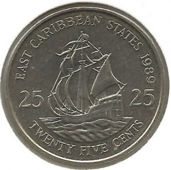 Moneta > 25centesimi, 1981-2000 - Caraibi Orientali  - obverse