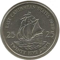 Moneta > 25centesimi, 1981-2000 - Caraibi Orientali  - reverse