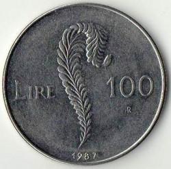 Moneda > 100lire, 1987 - San Marino  (15è aniversari - Represa de la Moneda) - reverse
