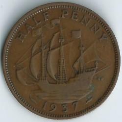 Кованица > ½пенија, 1937-1948 - Уједињено Краљевство  - reverse