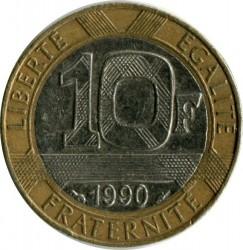 Moneda > 10francos, 1988-2001 - Francia  - reverse
