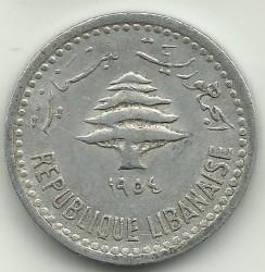 Кованица > 5пиастра, 1954 - Либан  - obverse