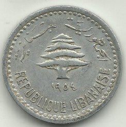 Moneta > 5piastrów, 1954 - Liban  - reverse