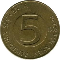 Moneda > 5tolarjev, 1992-2006 - Eslovènia  - obverse