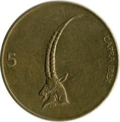 Moneda > 5tolarjev, 1992-2006 - Eslovènia  - reverse
