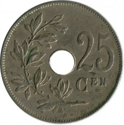 Münze > 25 Centime, 1910-1929 - Belgien  (Legend in Dutch - 'KONINGRIJK BELGIË') - obverse