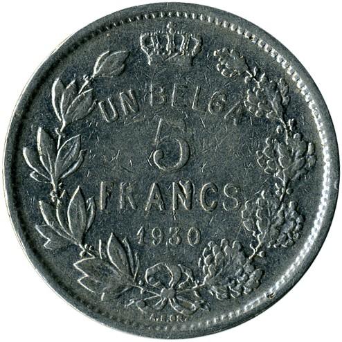 5 Franken 1930 1934 Albert Roi Des Belges Belgien Münzen Wert