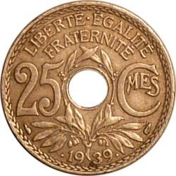 מטבע > 25סנטים, 1938-1940 - צרפת  - reverse