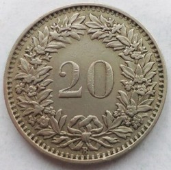 Moneda > 20rappen, 1951 - Suïssa  - reverse