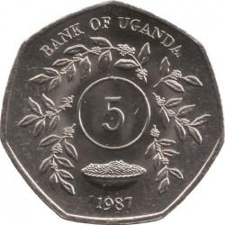 Coin > 5shillings, 1987 - Uganda  - reverse