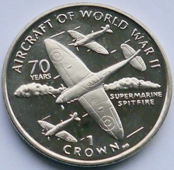 Moneda > 1corona, 2006 - Isla de Man  (Aviación de la Segunda Guerra Mundial - Supermarine Spitfire) - reverse