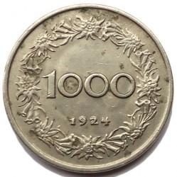 Moneda > 1000coronas, 1924 - Austria  - reverse