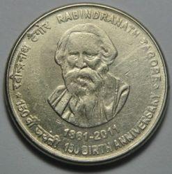 Moneta > 5rupii, 2011 - Indie  (150 rocznica urodzin - Rabindranath Tagore) - reverse