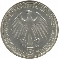 Moneda > 5marcos, 1968 - Alemania  (500º Aniversario - Muerte de Johannes Gutenberg) - obverse