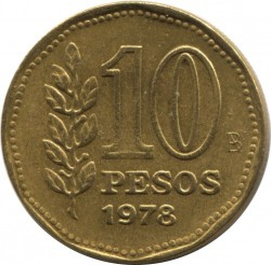 Pièce > 10pesos, 1976-1978 - Argentine  - obverse