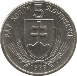 Νόμισμα > 5Κορούν(Κορώνες), 1939 - Σλοβακία  - obverse