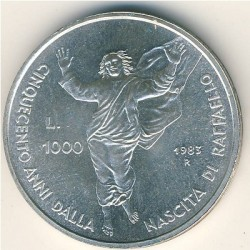 Moneta > 1000lire, 1983 - San Marino  (500° anniversario - Nascita di Raffaello Sanzio) - obverse