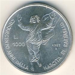Moneta > 1000lire, 1983 - San Marino  (500° anniversario - Nascita di Raffaello Sanzio) - reverse