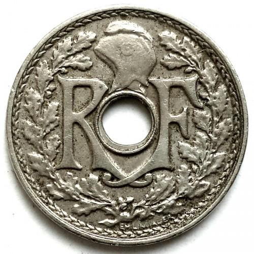 5 Centimes 1921 Loch In Der Mitte Frankreich Münzen Wert