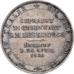 Moneta > 1tallero, 1855 - Sassonia  (Visita del re Giovanni I alla zecca) - reverse