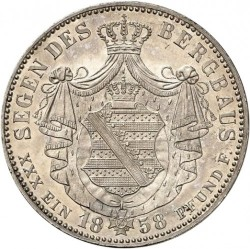 Moneta > 1vereinsthaler, 1857-1858 - Sassonia  - reverse